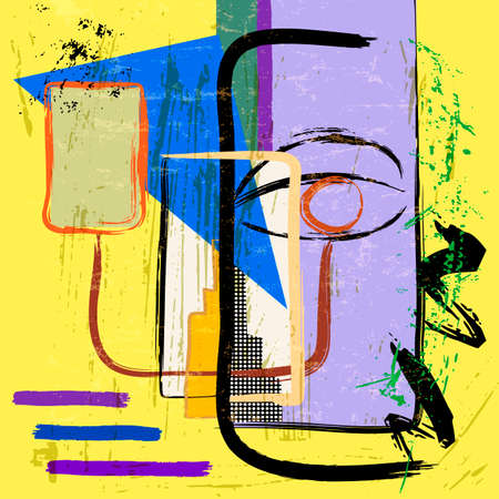retro face illustration, modern art style, with paint strokes and splashes