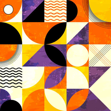 abstract geometric background pattern, retro / vintage style, with circles, squares, paint strokes and splashes