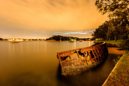 Rusty boat at Sawmillers Reserve, Sydney, Australia Stock Photo