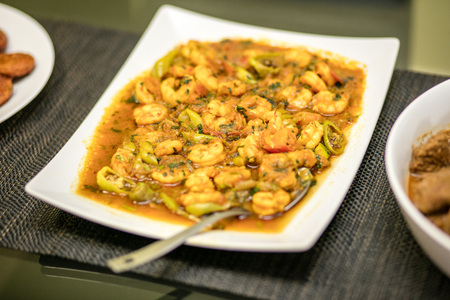 Prawn curry served on a plate