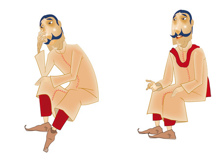 robe: Indian man model sheet wearing a robe Illustration