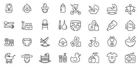 Baby,Baby toys, feeding and care icons set Vector illustration Ilustración de vector