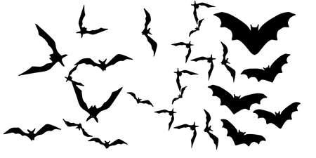 Horror black bats group isolated on white vector Ilustração Vetorial