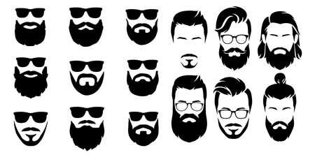 bearded icon set Vector illustration white background Vetores