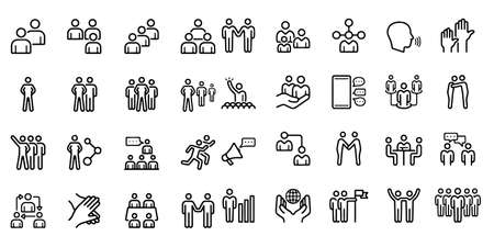 Business People Related Vector Icons Illustration