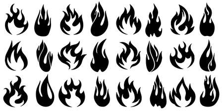 Fire flames set icons vector illustration