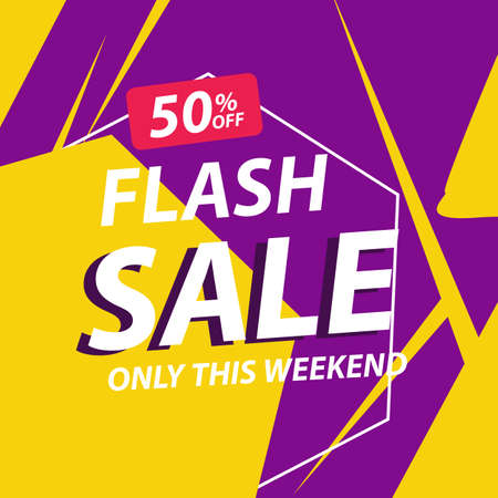 Flash sale discount banner template promotion Ilustração Vetorial