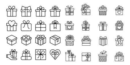 gift box vector icon set illustration on white background