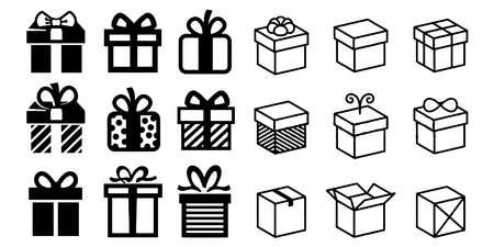 gift box vector icon set illustration on white background Illustration