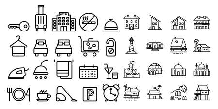 hostel and hotel icons Vector illustration 일러스트