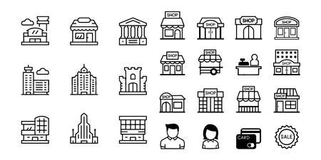 shopping mall isolated icon set vector