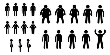 Overweight people vector icons isolated on white background