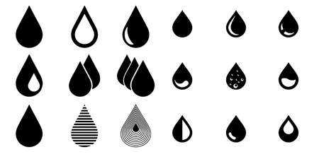 Water drop in flat style set Vector