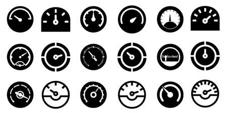 Speedometer icon slyles Set vector illustration collection