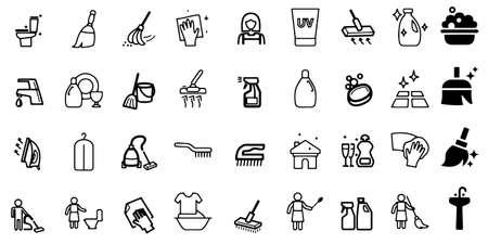 Cleaning icon set Washing machine symbols Vector Illustration