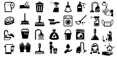 Cleaning icon set Washing machine symbols Vector Illustration Vektorgrafik