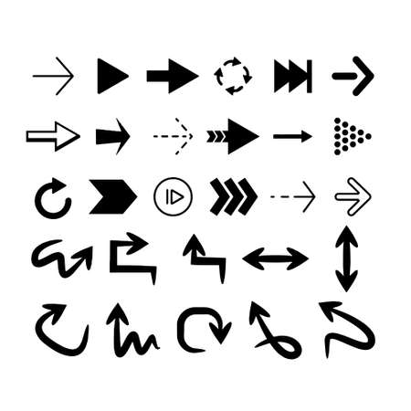hand drawn arrows set graphic elements in black Vector
