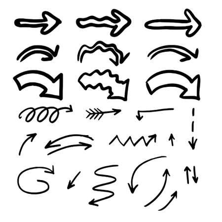 hand drawn arrows set graphic elements in black Vector Ilustración de vector