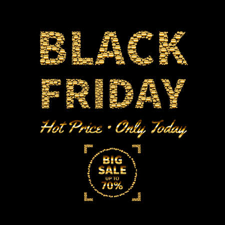 Vector illustration of Black Friday sale text design template