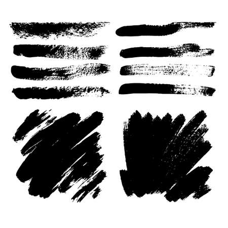 Vector black paint, ink brush stroke, brush, line or texture. Dirty artistic design element, box, frame or background for text. Vetores