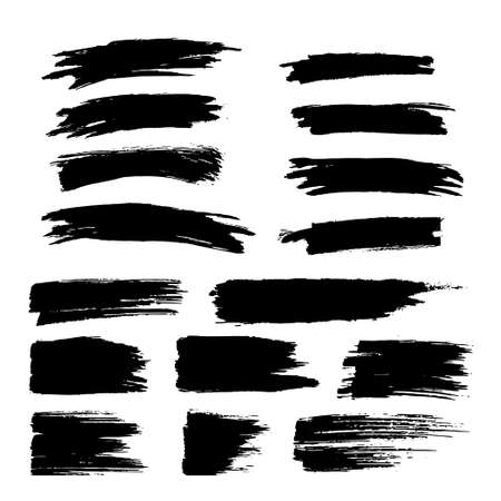 Vector black paint, ink brush stroke, brush, line or texture. Dirty artistic design element, box, frame or background for text. Vector Illustration