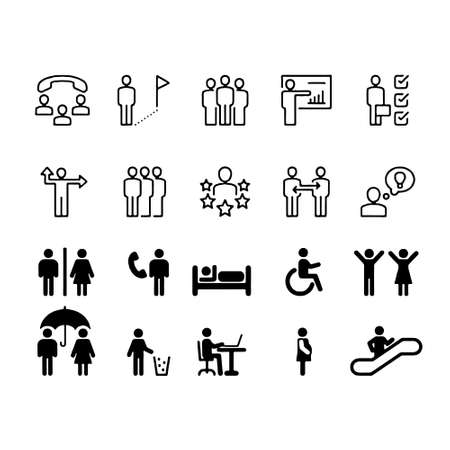 Simple Set of Business People Related Vector Line Icons. Contains such Icons as One-on-One Meeting, Workplace, Business Communication