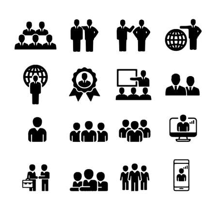Simple Set of Business People Related Vector Line Icons. Contains such Icons as One-on-One Meeting, Workplace, Business Communication Vettoriali