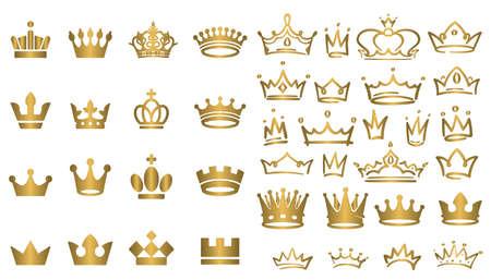 Big collection of vector crown silhouettes in vintage style Vector illustration Ilustración de vector