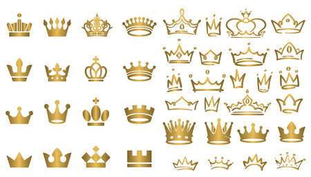 Big collection of vector crown silhouettes in vintage style Vector illustration Vector Illustration