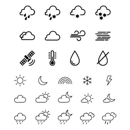 weather icons with White Background Vector Ilustracje wektorowe