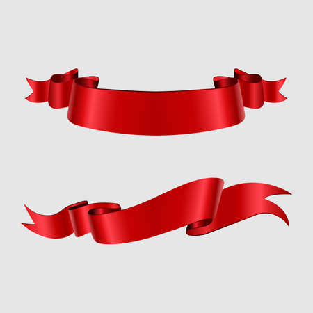 Collection of ribbons on white background vector illustration