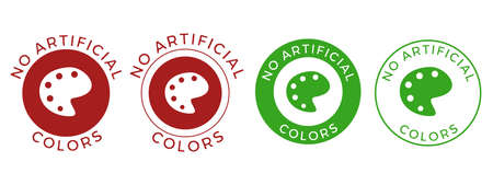 No artificial colors and dyes vector icon for skin and body care cosmetic or food and drink products. Medical safe vector symbol of color palette