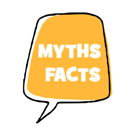 Myths facts Vector lettering illustration on white background