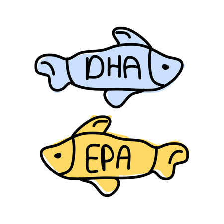 Nutrition concept Fish icons with words dha, epa. Vector hand drawn illustrations on white background