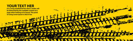 Vector automotive banner template. Grunge tire tracks backgrounds