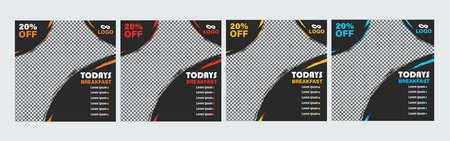 concise delicious restaurant discount social media post Set of Editable minimal square banner template Иллюстрация