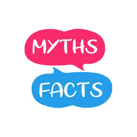 Myths facts. Speech bubble icons. Vector illustration on white background Ilustração