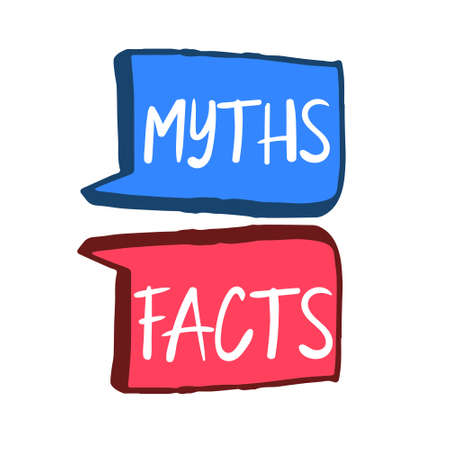 Myths facts. Speech bubble icons. Vector illustration on white background Illustration