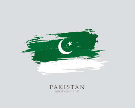 Flag of Pakistan Brush strokes drawn by hand Vector illustration on white background Independence Day