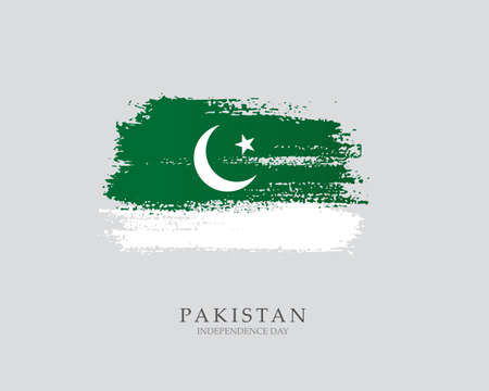 Flag of Pakistan Brush strokes drawn by hand Vector illustration on white background Independence Day Banco de Imagens - 155433881