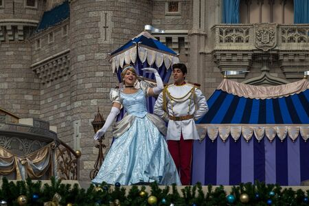 Orlando Florida,USA-December 11,2014: Cinderella and the prince dancing in the Dreams Come True performance in Magic Kingdom Orlando Florida
