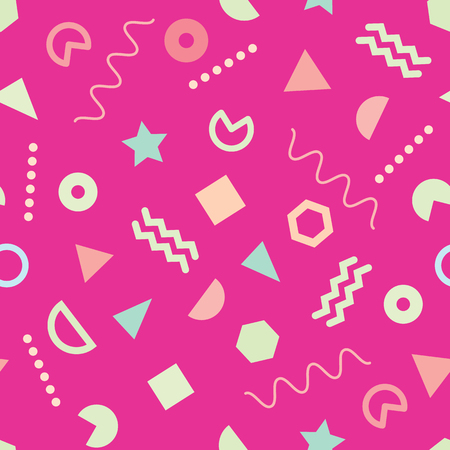 Seamless pattern with Trendy Memphis style design on pink background. Variant geometric shapes.
