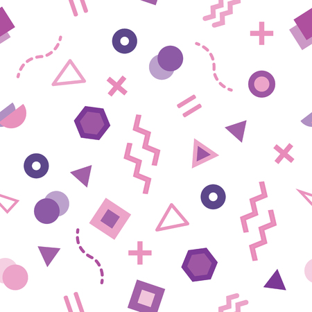 Seamless pattern with Trendy Memphis style design on white background. Variant geometric shapes colored in purple.