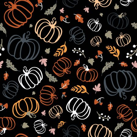 Seamless pattern of colorful pumpkins with maple leaves on dark background. Illustration