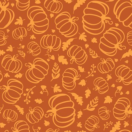 Autumn seamless pattern of silhouette of pumpkins and maple leaves.