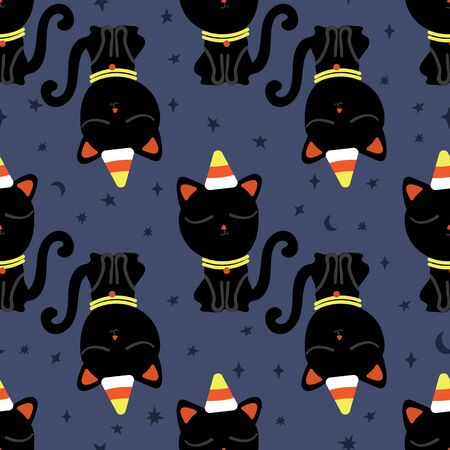 Halloween seamless pattern with cute black cat and corn-candy graphics on starry night. Design for gift wrap, textile, fabric, decoration, wallpaper, scrapbook and packaging. Иллюстрация