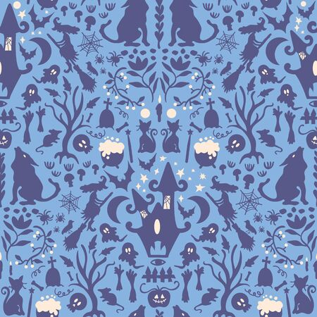 Seamless pattern of halloween spooky characters colored in blue silhouette.Reflected repeated style.Design for textile, fabric, decoration, wallpaper, wrapping, scrapbook and packaging. Иллюстрация