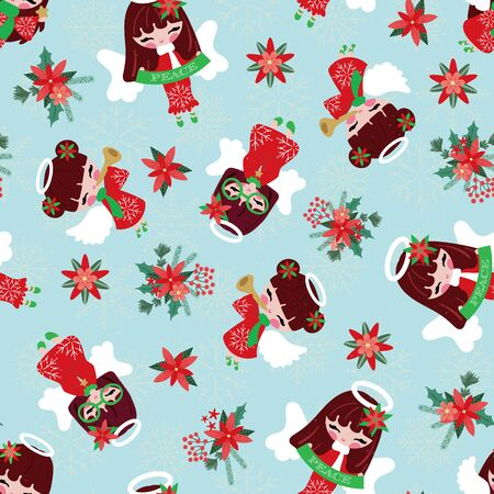 Seamless pattern of pretty angels flying on christmas floral i.e. poinsettia, pine breach, leaves and mistletoe bouquet on blue sky with snowflakes. Cute background for winter christmas holiday. Vector Illustration.