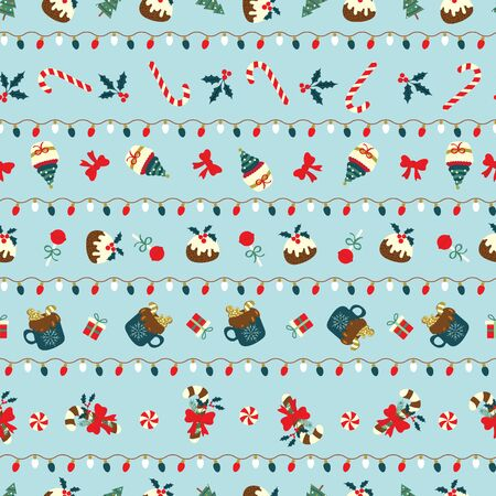 Christmas seamless pattern with sweet desserts arranged in stripes line with christmas lights. Cute holiday vector illustration for wallpaper, web page, menu background, scrapbook paper, fabrics, gift-wrap paper etc.