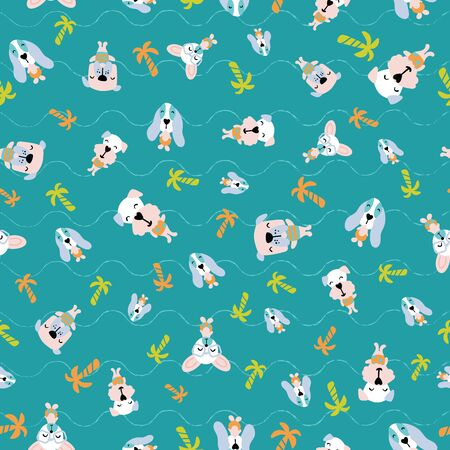Seamless pattern of cute puppies or dogs on vacation enjoying summertime at beach with wavy lines. Surface design for textile, fabric, wallpaper, wrapping, gift-wrap, paper, scrapbook and packaging. Stock Vector - 137787021